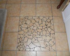 ugly cracked shard tile mosaic amateur floor Phoenix Arizona home house for sale photo