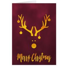 Christmas gold reindeer burgundy holiday wishes card