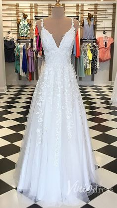 2018 A-line Spaghetti Straps Prom Dresses Custom White Long Prom Dresses Evening Dress Cheap Elegant Dresses, Simple Formal Dresses, Formal Dresses For Weddings, Formal Evening Dresses, Wedding Dresses, Pink Prom Dresses, Cheap Prom Dresses, Homecoming Dresses, Bridesmaid Dresses
