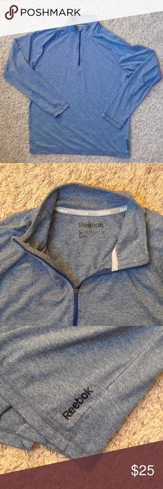 [Reebok] Workout Pullover Blue Reebok half zipper workout pullover. 100% polyester. Little tab to cover zipper when zipped. 😁 In perfect condition! Reebok Tops Sweatshirts & Hoodies