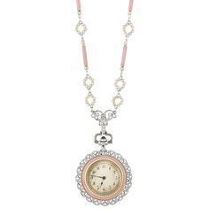 Belle Epoque platinum, enamel, pearl & diamond pendant watch necklace 1910...♡