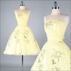 Vintage 1950s Dress . Yellow Chiffon . Full Skirt . Embroidery . Strapless . XS S . 2597. $245.00, via Etsy.