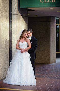bride & groom, full wedding gown portrait  Wedding at Arlington Heights United Methodist and The Fort Worth Club