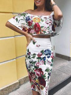 Shop Floral Dresses Floral Print Off Shoulder Cropped Top & Skirt Set Trend Fashion, Fashion Beauty, Fashion Outfits, Fashion Design, Womens Fashion, Fashion Ideas, Fashion Clothes, Stylish Clothes, Girly Outfits