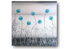 Metal Wall Art Metallic Painting Floral Wall Art by SFBFineArt