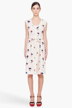 MARC BY MARC JACOBS Sandshell Finch Print Silk Dress