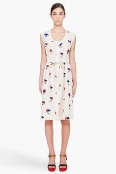 MARC BY MARC JACOBS Sandshell Finch Print Silk Dress