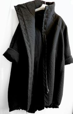 short sleeve texture funnel neck zip jacket cocoon coat minimal edgy urban @ ANNETTE GÖRTZ
