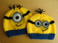 This Minion hat is knitted with soft acrylic yarn and will stretch to fit all sizes of heads.  This listing is for a child size hat or an adult size hat.  Please specify which size when ordering and n