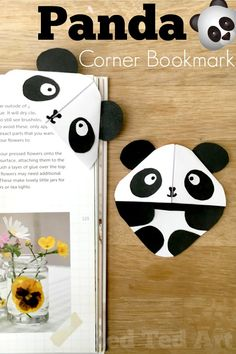 DIY Panda Bookmark Corner. How to make a corner bookmark Panda. Easy Panda DIYs for Kids. Panda DIY back to school. DIY School Supplies Panda Bookmark. #panda #pandabear #schoolsupplies #cornerbookmarks #bookmarks