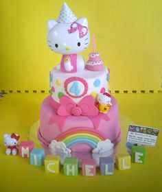 hello kitty cake with buttons and rainbow Hello Kitty Torte, Bolo Da Hello Kitty, Hello Kitty Birthday Cake, Baby Birthday, Birthday Parties, Birthday Cakes, Kids Planner, Cat Party, Cute Cakes