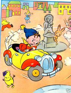 Noddy Vintage print 1953 illustrated by Beek - Noddy's car My Childhood Friend, Childhood Memories, Vintage Children's Books, Vintage Comics, Cartoon Tv, Cartoon Characters, Enid Blyton Books, Dutch Artists, Word Pictures