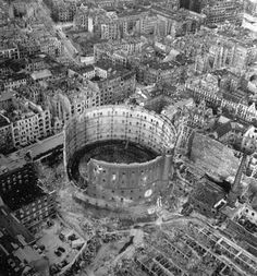 Aerial view of bombed-out buildings and wrecked gasworks in and around the Schöneberg section of Berlin, 1945.