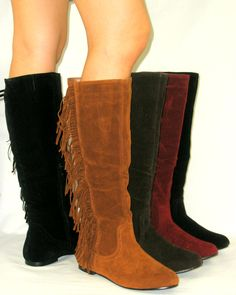 Cherokee Indian Faux Suede Flat Moccasin Fringe Tassel Tall Knee High Boots   eBay