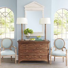 classic furniture, mixed wood finishes, pale blues