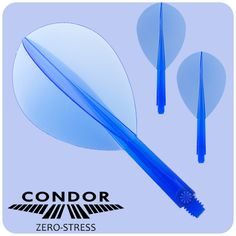Condor Dart Flights - Zero Stress - Professional Integrated Flight and Shaft System - Teardrop - Clear Blue - Short  - http://www.dartscorner.co.uk/product_info.php?products_id=13603
