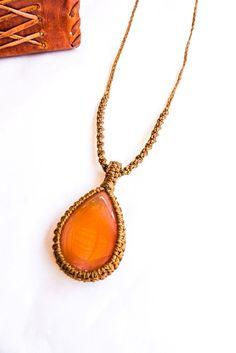 Carnelian macrame necklace, man necklace, macrame necklace, teardrop shape, orange stone, Natural Carnelian necklace, Boho, Rustic, Zen gift