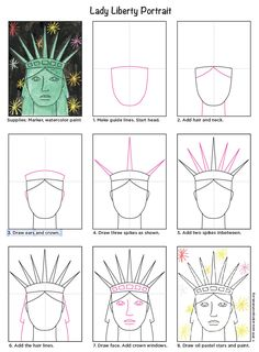Draw the Statue of Liberty Face · Art Projects for Kids Statue of Liberty portrait, watercolor and oil pastels. PDF tutorial available. Statue Of Liberty Drawing, Liberty Statue, 2nd Grade Art, American Symbols, American Indians, American History, American Flag, Native American, You Draw