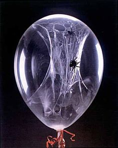 Halloween: how to make spider web balloons  If you're planning a halloween party to remember, now's the time to get making props and decorations for the event. One of the coolest ideas I've seen is balloons filled with 'spider webs' (right), which makes for a really spooky effect. You'll need access to some helium, and ideally a substance like hi-float which will allow for the heaviness of the balloon's   What you'll need:  - HI-FLOAT  - 11-inch clear