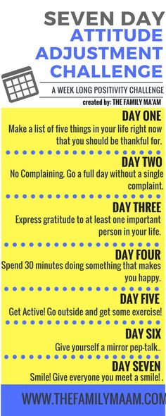 Seven Day Attitude Adjustment Challenge: Seven days to a positive mind. lol this is just 7 days. Mental Training, Positive Thoughts, Positive Outlook, Positive Attitude, Quotes Positive, Attitude Quotes, Positive Vibes, Self Development, Personal Development