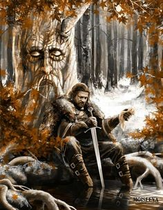 Game Of Thrones: Ned Stark under The Weirwood Tree at Winterfell Dessin Game Of Thrones, Game Of Thrones Artwork, Game Of Thrones Houses, Game Of Thrones Fans, Eddard Stark, Ned Stark, Bran Stark, Cersei Lannister, Heros Film