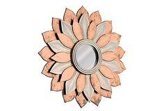 Silver & Copper-Foiled Blossom Mirror