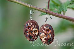 Custom Order, #jewelry, #earrings, #polymerclay, #polymerclayearrings, #polymerclayflowers, #polymerclayembroidery, #polymerappliqued, #autumnjewelry, #bohojewelry Hand Sculpted Polymer Clay Flower Embroidery Earrings