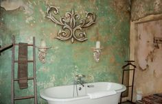 Gorgeous bathroom with ragged wall treatment