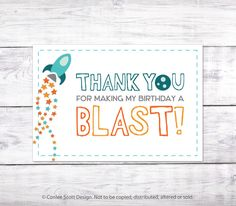 Rocket Printable Favor Label / Tag - Rocket Ship / Outer Space Party Thank You Labels by ConleeScottDesign on Etsy https://www.etsy.com/listing/244000372/rocket-printable-favor-label-tag-rocket