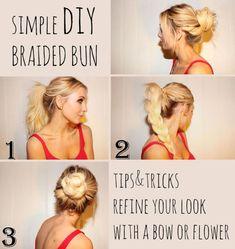 simple DIY spring summer hairstyle braided bun