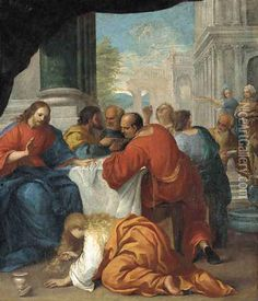 Saint Mary Magdalene anointing Christ's feet Oil Painting - French School