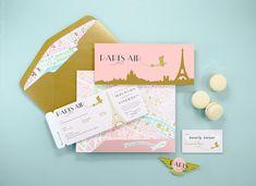Paris Theme Boarding Pass Invitation French por PaperBuiltShop