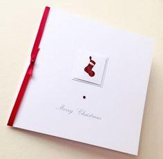 Christmas Card Pk of 5,'Xmas Stocking'Handmade Christmas Cards
