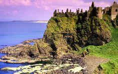 Dunluce Castle and the northern coastline, Co Antrim, Northern Ireland Mermaid Cave, Antrim Ireland, Irish Images, Castle Parts, Castles In Ireland, Londonderry, Ireland Landscape, Ireland Travel, Northern Ireland