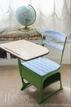 Vintage Student Desk DIY makeover with chevron shape tape and spray paint!