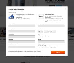 Nike.com sign up form.