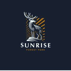 Forest Park Logo Design ★★★ Beautiful deer illustration ♥ Need a unique, professional & creative logo for your business? discount this week! Typography Logo, Logo Branding, Branding Design, Lettering, Creative Logo, Sunrise Logo, Forest Logo, Inspiration Logo Design, Logo Process