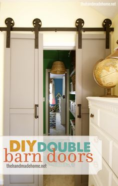 diy double barn doors- would be a great replacement for the old school bi-fold doors!