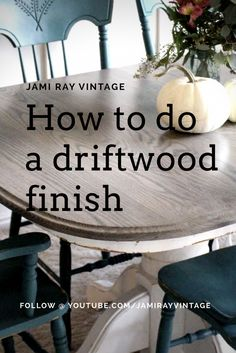 How To Do A Driftwood Finish We finished the table we found when we went pickin' two weeks ago to go with the green chairs. Zeb shows how to glue up a farmhouse table top. Driftwood Table, Driftwood Furniture, Paint Furniture, Furniture Makeover, Driftwood Stain, Furniture Design, Chair Design, Design Design, Repainting Furniture