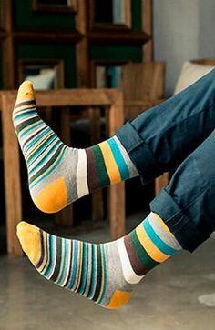 Men's Colorful Striped Cotton Socks