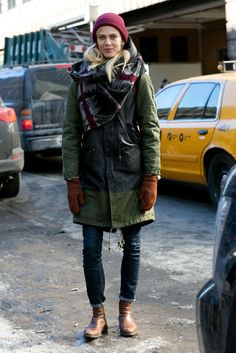 We adore her approach to bundling up.   The NYFW Model Moments You Didn't See on the Runway   POPSUGAR Fashion