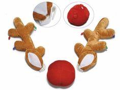 Corna e naso decorazioni natalizie per auto in set da 2 pz Corna: cm16x5x40H Naso: Ø 15,5 x 9 H