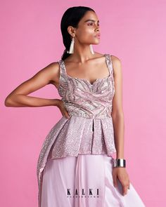Powder pink skirt with cascading layers matched with a fancy peplum top only on Kalki Coral Blush, Pink Lehenga, Powder Pink, Pink Outfits, Indian Wear, Skirt Fashion, Pink Dress, Fancy, Formal Dresses
