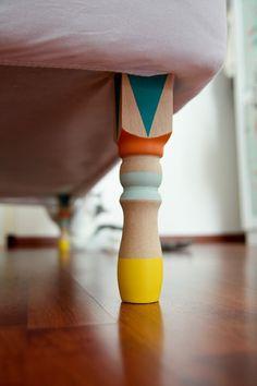 DIY new furniture legs for little kid's room! Furniture Legs, Painted Furniture, Painted Sofa, Colorful Furniture, Furniture Stores, Antique Furniture, Modern Furniture, Painted Tables, Furniture Movers