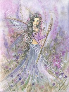 Art 'Shrouded in Violet full' - by Molly Harrison from Gallery Fairy Coloring, Mermaid Coloring, Illustrations, Illustration Art, Unicorns And Mermaids, Vintage Fairies, Beautiful Fairies, Fairy Art, Magical Creatures