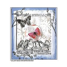 Crafty Individuals CI-230 - 'Seven Cheeky Songbirds' Art Rubber Stamp, 85mm x 55mm - Crafty Individuals from Crafty Individuals UK