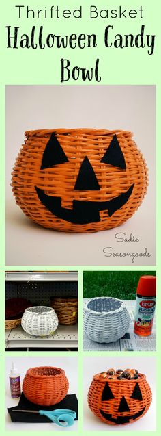 Want a super easy, really inexpensive Halloween craft?? Grab an old round basket from the thrift store...paint it orange...and add a jack-o-lantern face using black felt! Instant candy bowl, perfectly festive, simple to create, and done on the cheap! Happy Halloween from #SadieSeasongoods