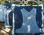 Blue Jean  Overalls Patchwork Pillow