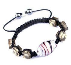 45mm White Orange Nylon Lampwork Hematite Bracelets Jewelry Gift