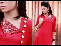 STYLISH KURTI NECKLINE - 1 - EASY CUTTING AND SEWING- DESIGN IT YOURSELF - YouTube